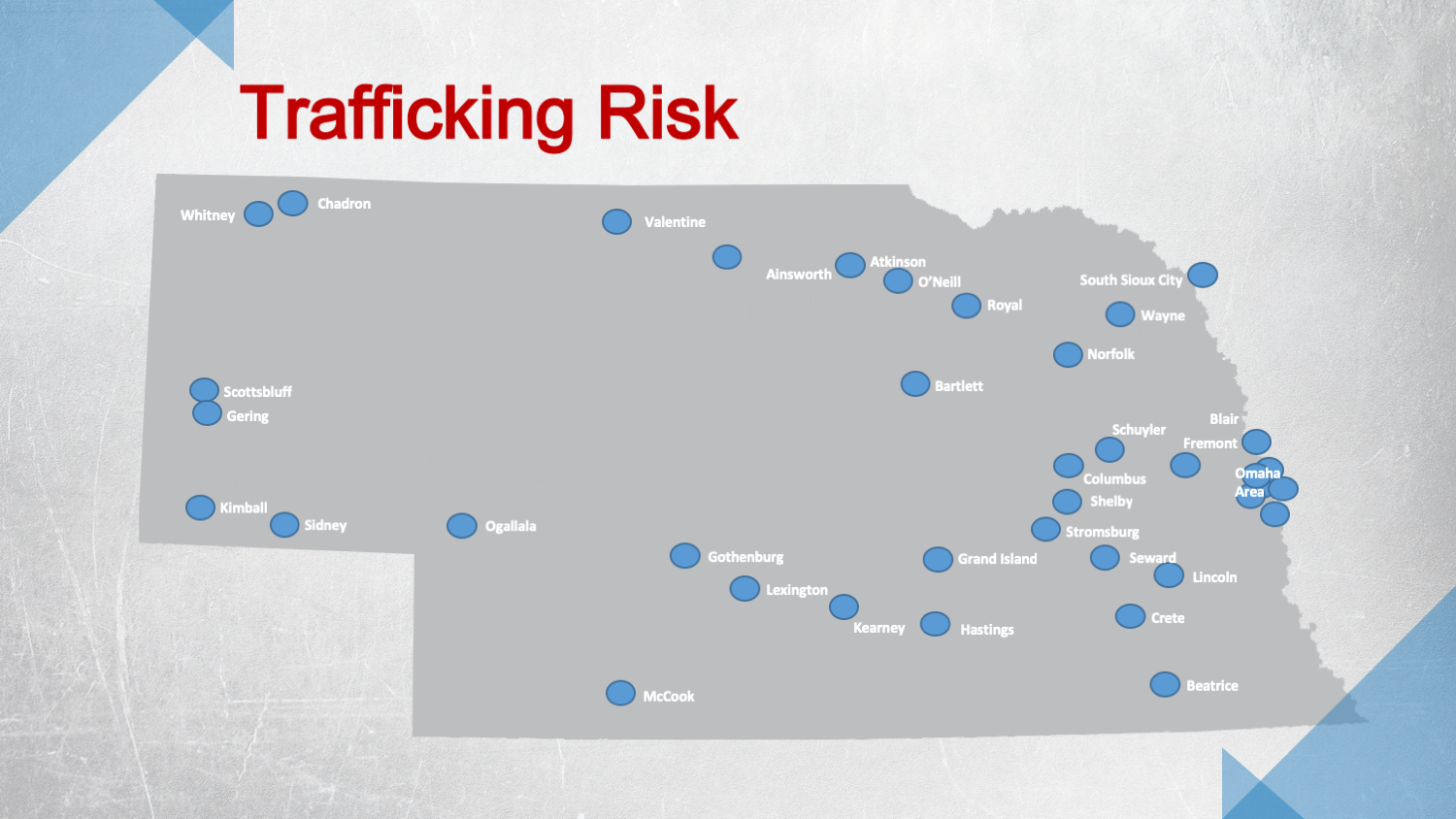 Map of Locations of Reports of Trafficking