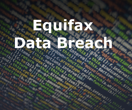Equifax Data Breach text over computer code